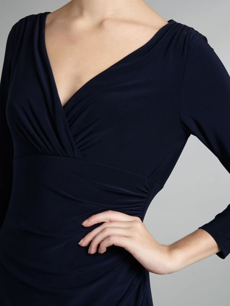 Lauren By Ralph Lauren Long Sleeve V Neck Jersey Dress In