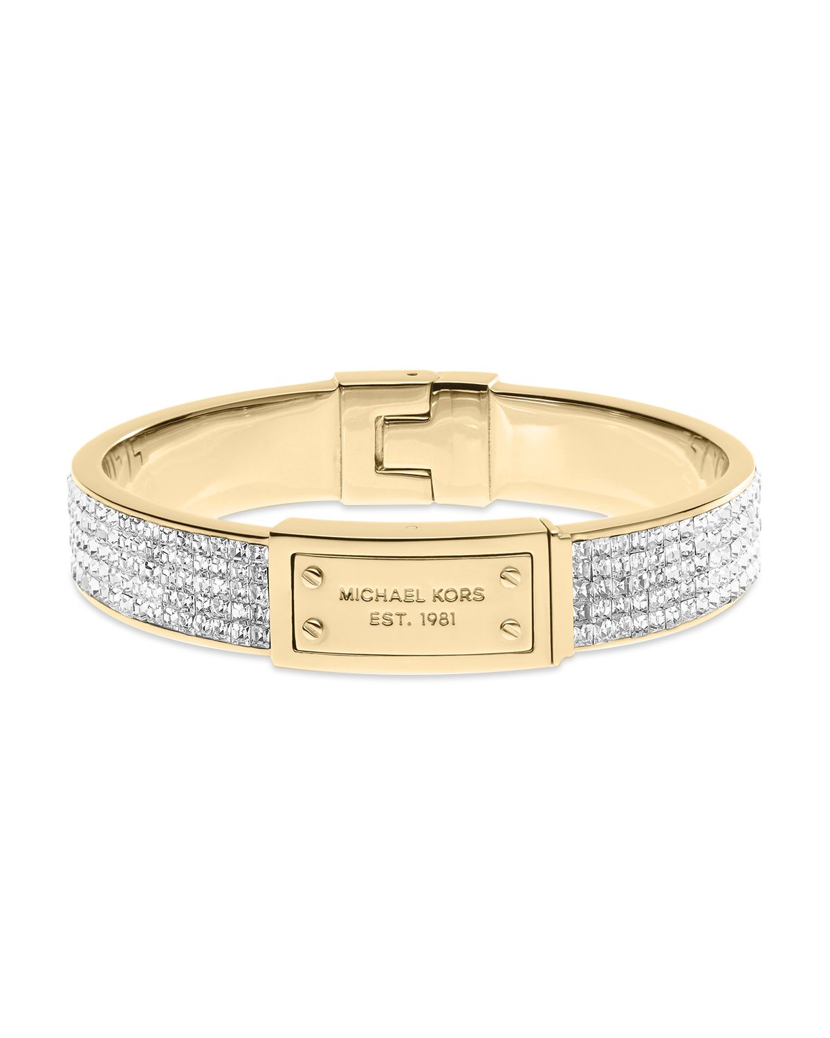 michael kors square pave plaque bangle bracelet in white gold clear lyst. Black Bedroom Furniture Sets. Home Design Ideas