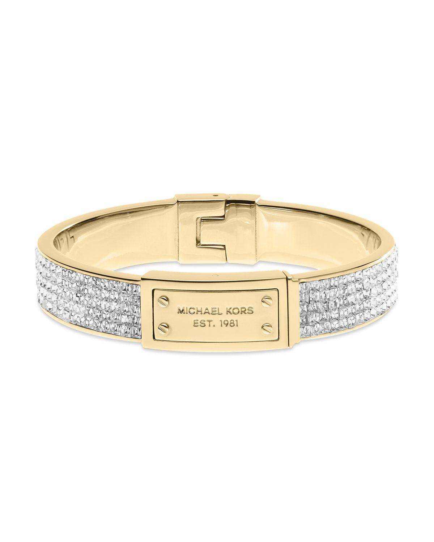 Lyst Michael Kors Square Pave Plaque Bangle Bracelet In