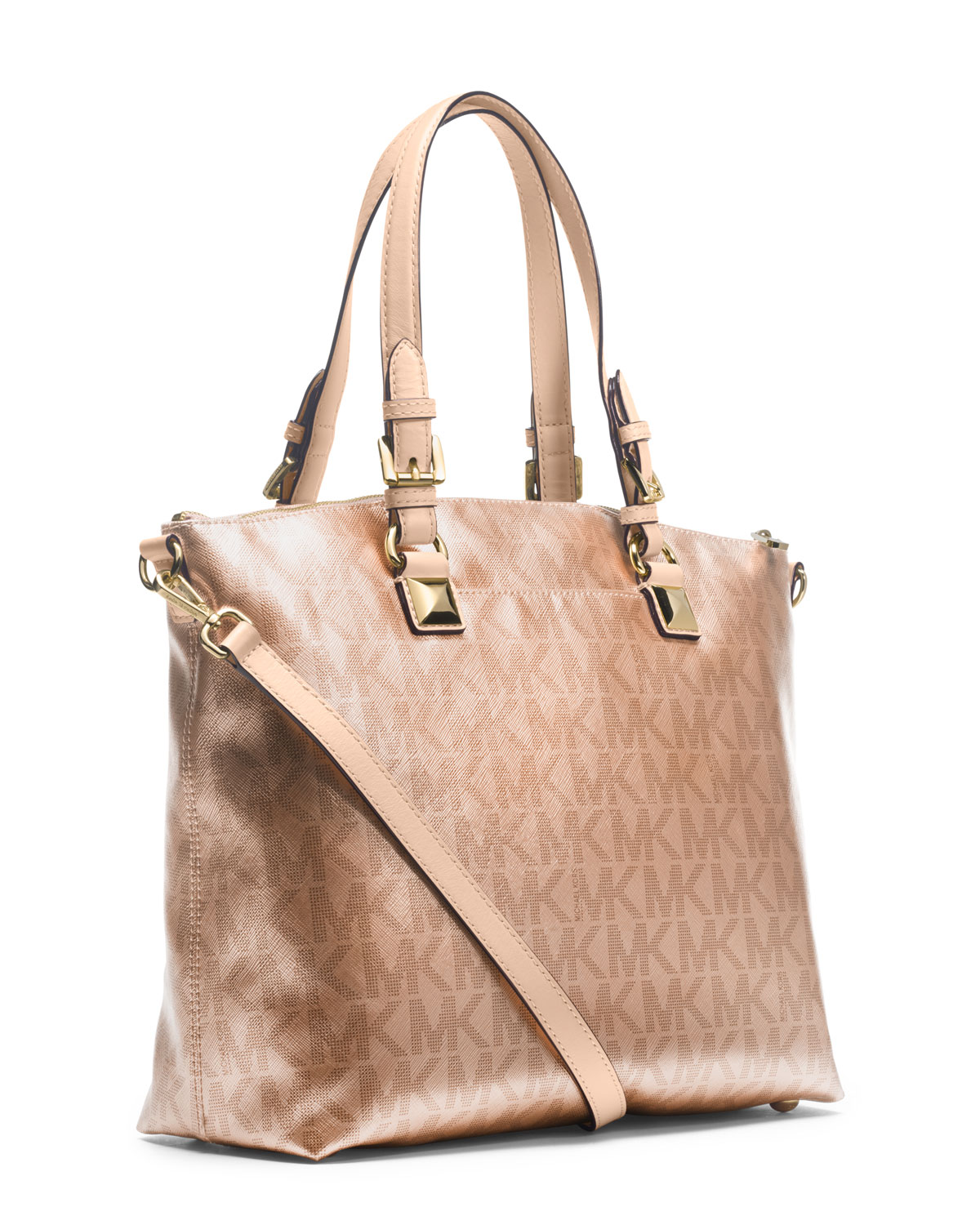 37013e7cea0d ... pale gold fc39e 3f0d0; czech lyst michael kors michael jet set metallic  multi function satchel in pink e44a3 59148