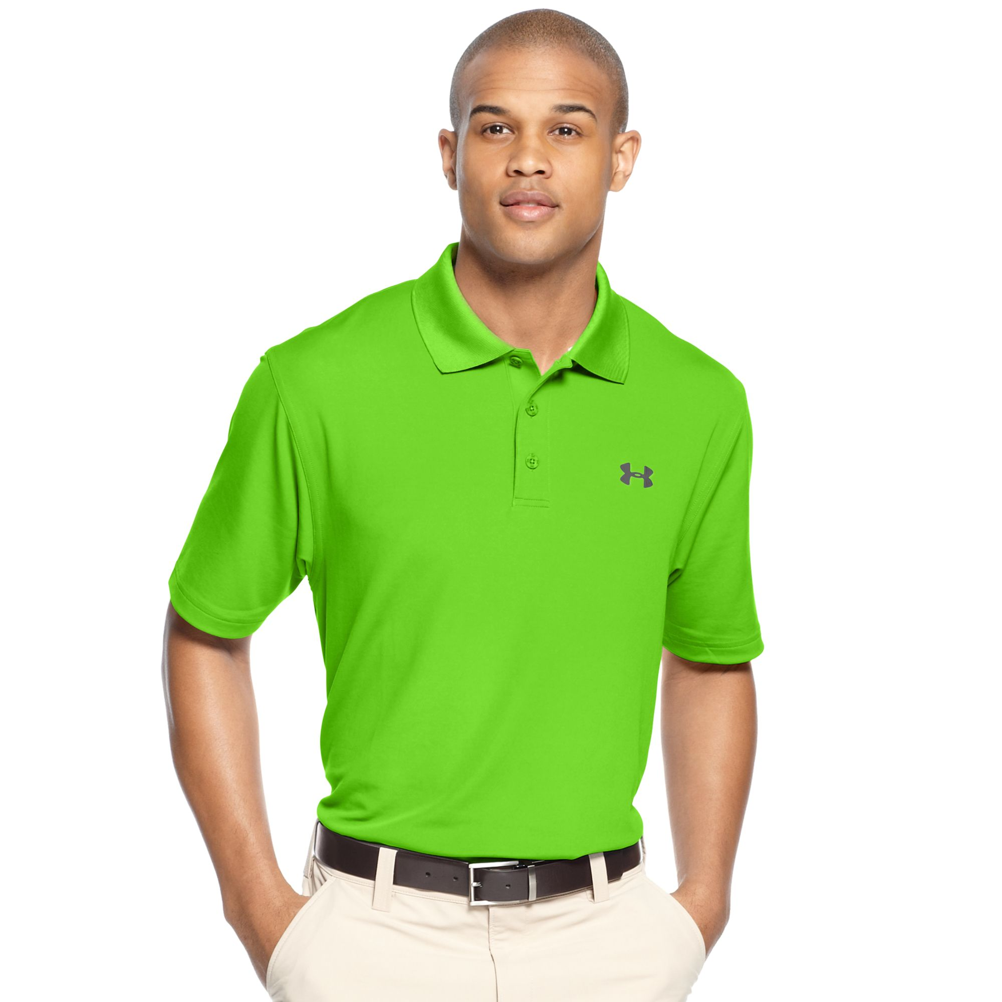 under armour ua performance polo in green for men hyper green lyst. Black Bedroom Furniture Sets. Home Design Ideas