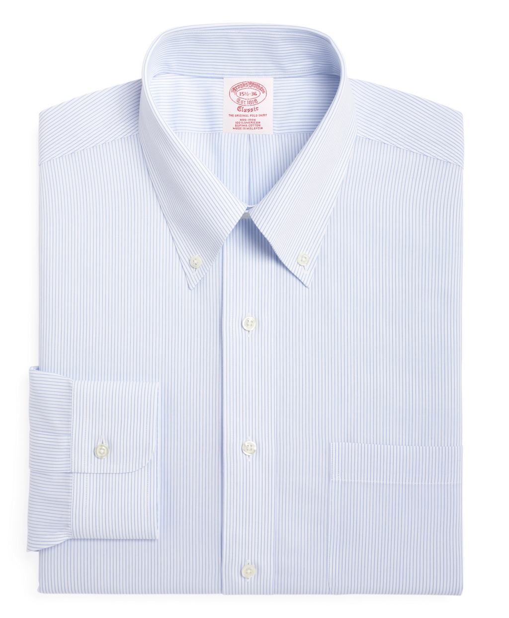 Brooks brothers non iron traditional fit mini pinstripe for Brooks brothers dress shirt fit