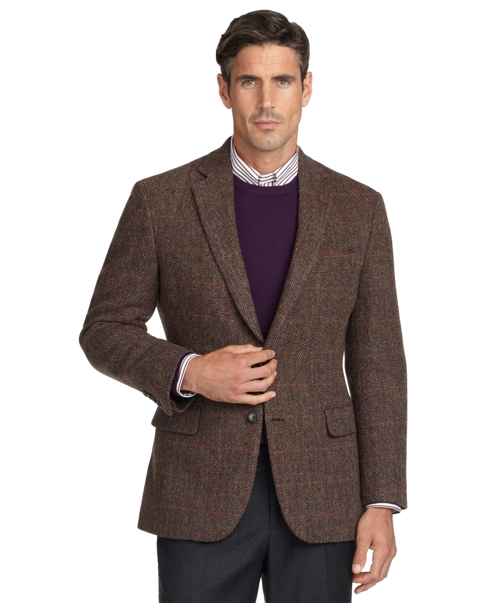 Brooks brothers Madison Fit Herringbone Sport Coat in Brown for ...