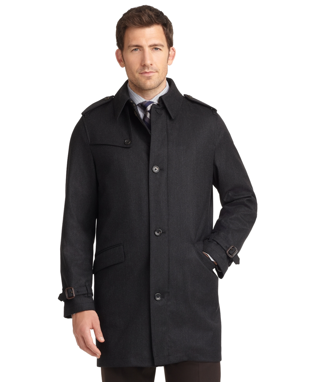 Brooks brothers Brooksstorm® Twill Trench Coat in Gray for ...