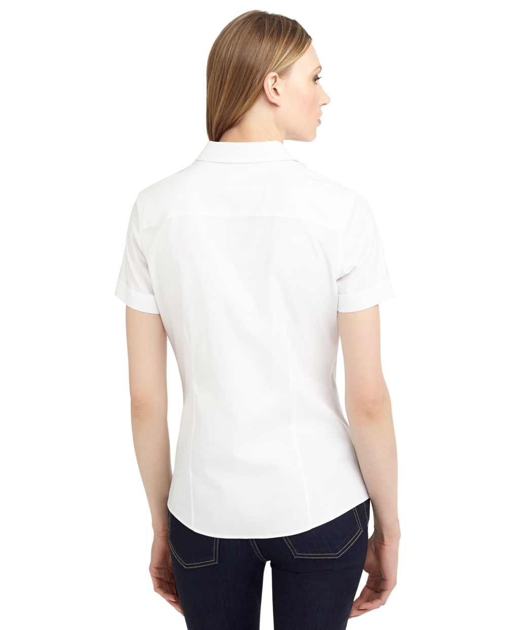 Brooks brothers non iron tailored fit short sleeve dress for Fitted short sleeve dress shirts