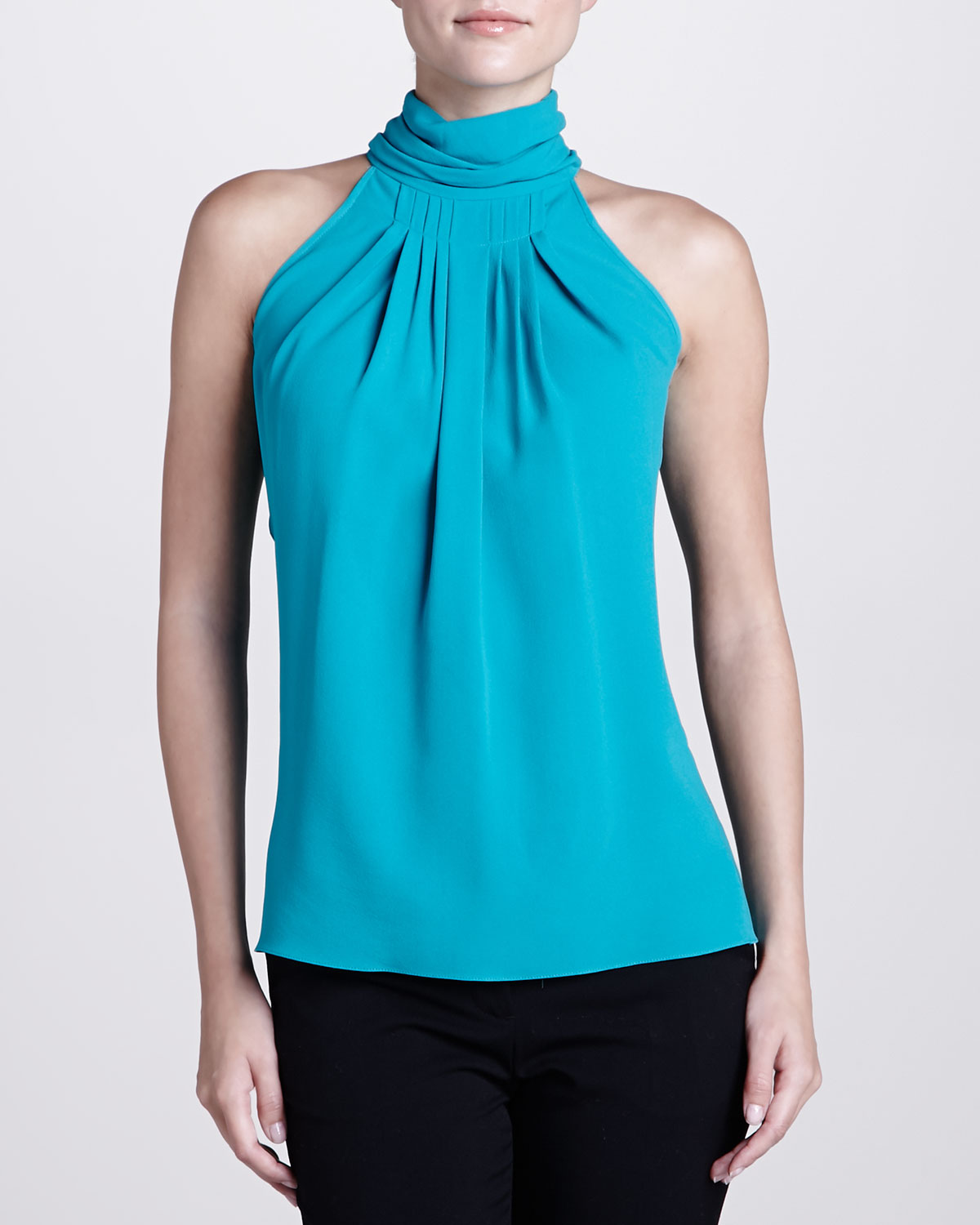 Turtle Neck Satin Blouse 34