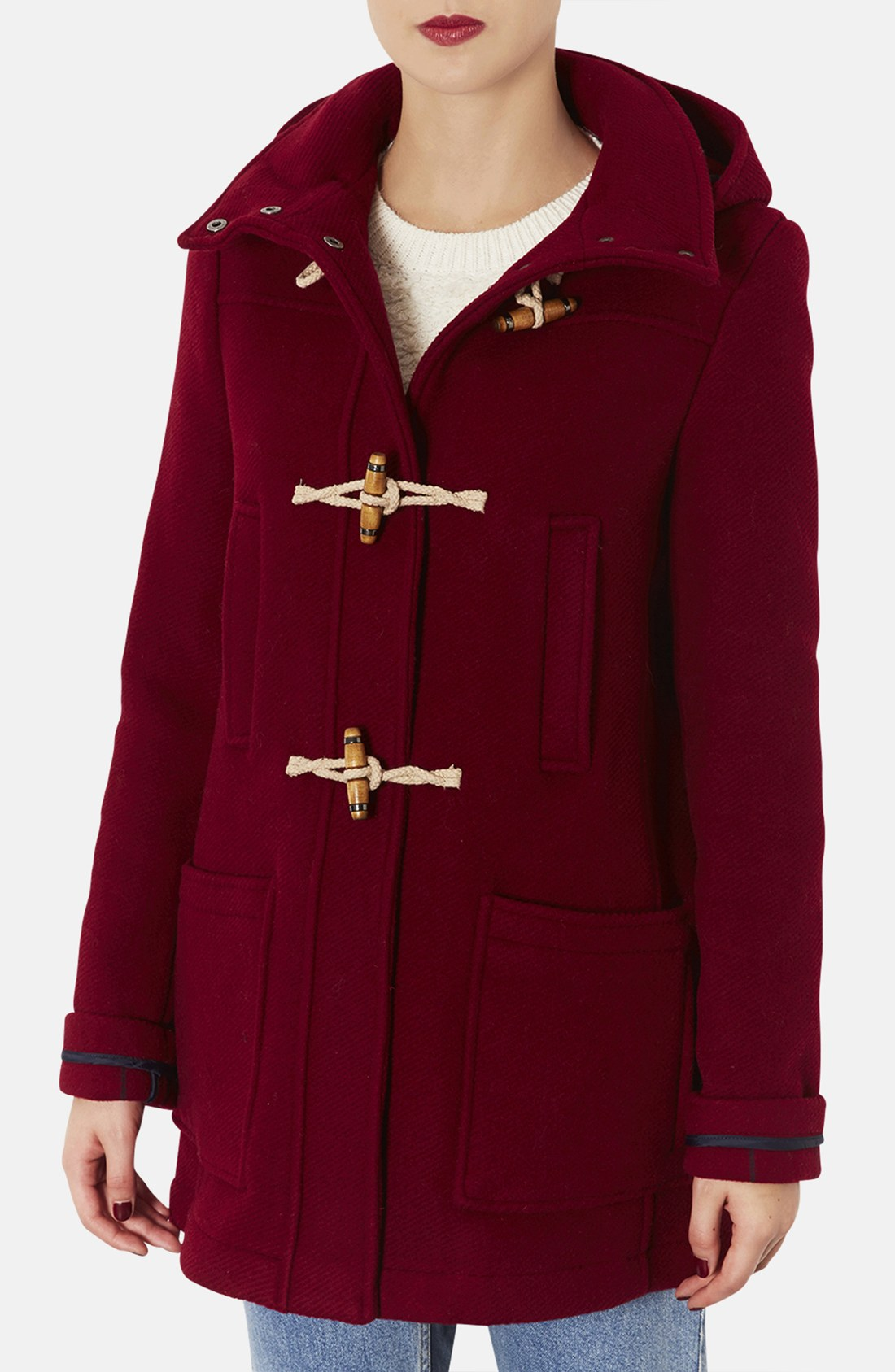 topshop duffle coat in red cherry lyst. Black Bedroom Furniture Sets. Home Design Ideas