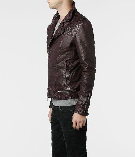 Allsaints Conroy Leather Biker Jacket In Purple For Men