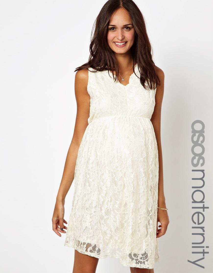 3f410494409c1 White Lace Maternity Dress Short – DACC