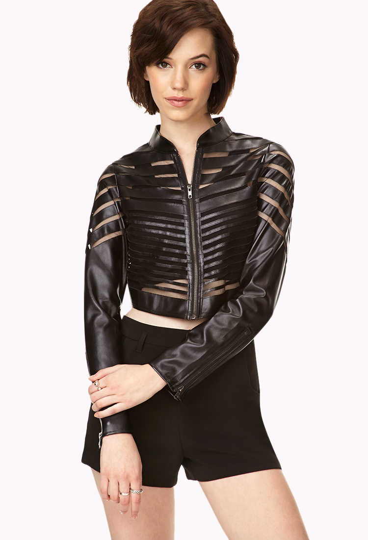 Leather and mesh jacket