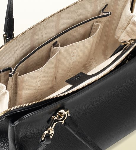 Gucci Label Leather Tote In Black Lyst