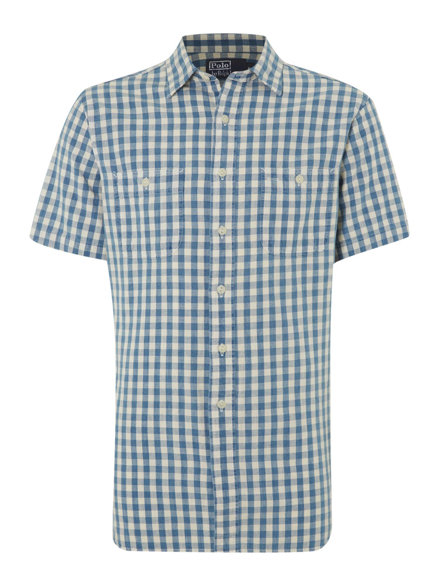 Polo Ralph Lauren Short Sleeved Check Shirt In Blue For