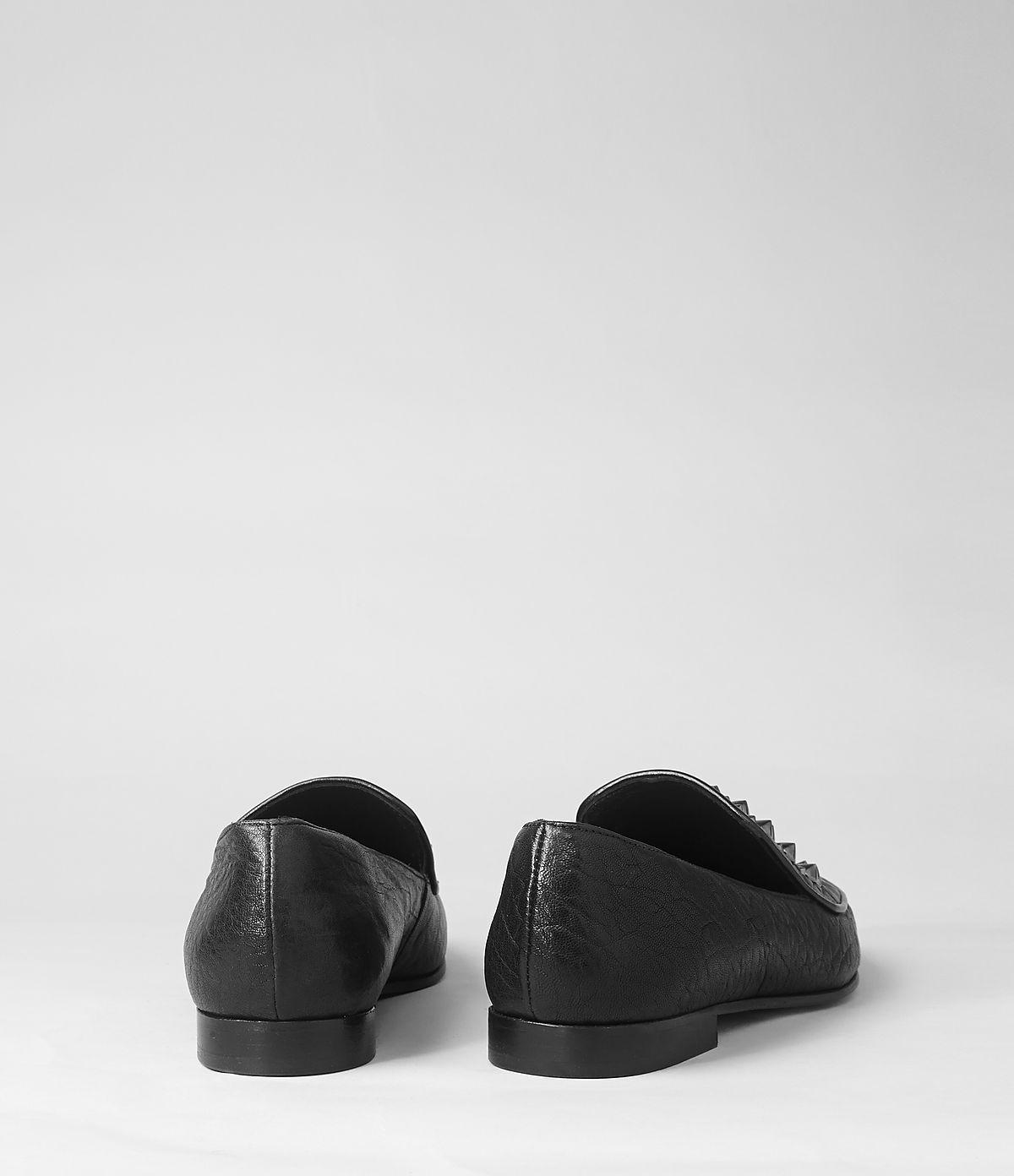 3c02db34b29 AllSaints Keiko Studded Loafer in Black - Lyst