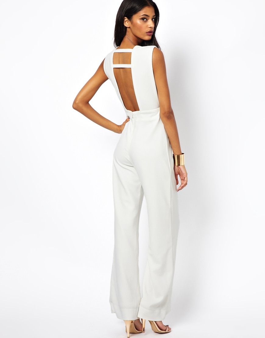 Aq/aq Phoebe Wide Leg Jumpsuit with Cross Front and Open Back in ...