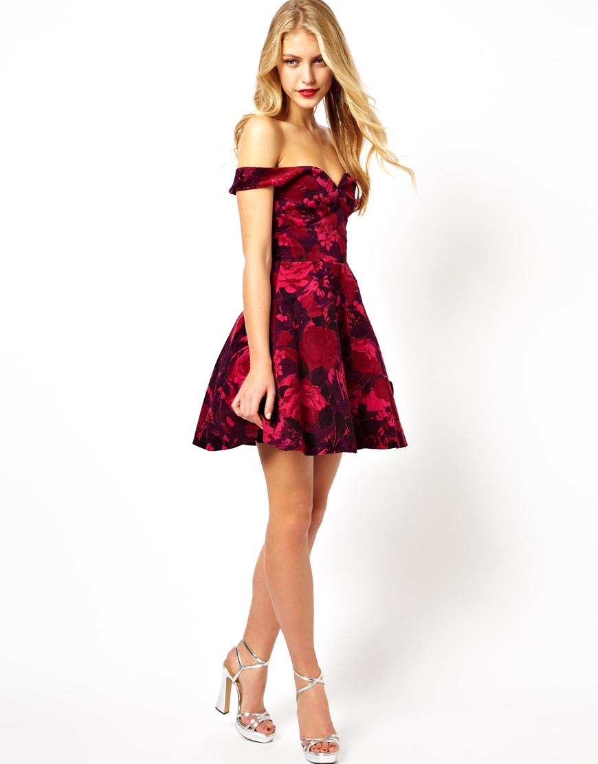 76ee55187312 Lyst - ASOS Velvet Floral Bardot Skater Dress in Red