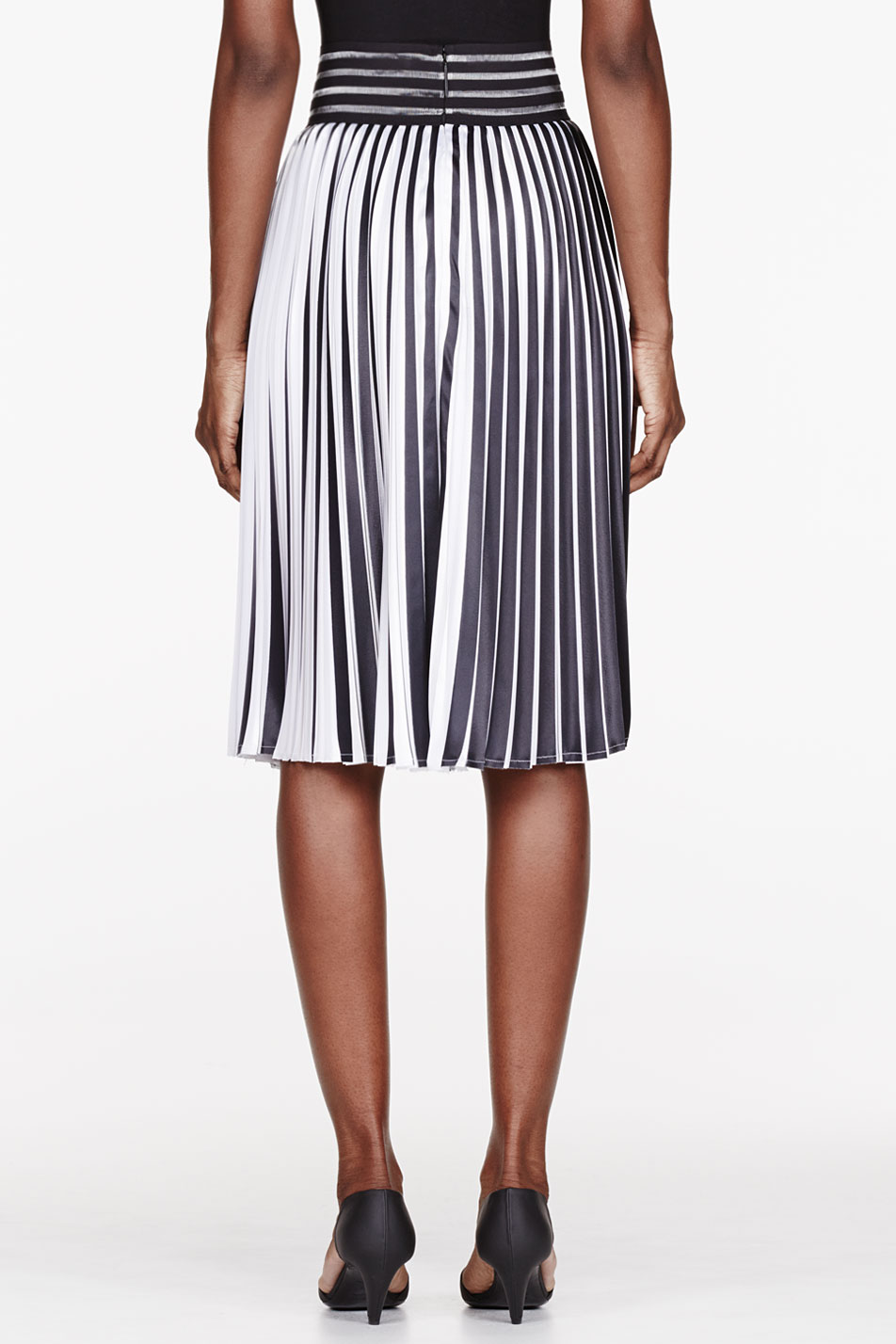 Black And White Pleated Skirt