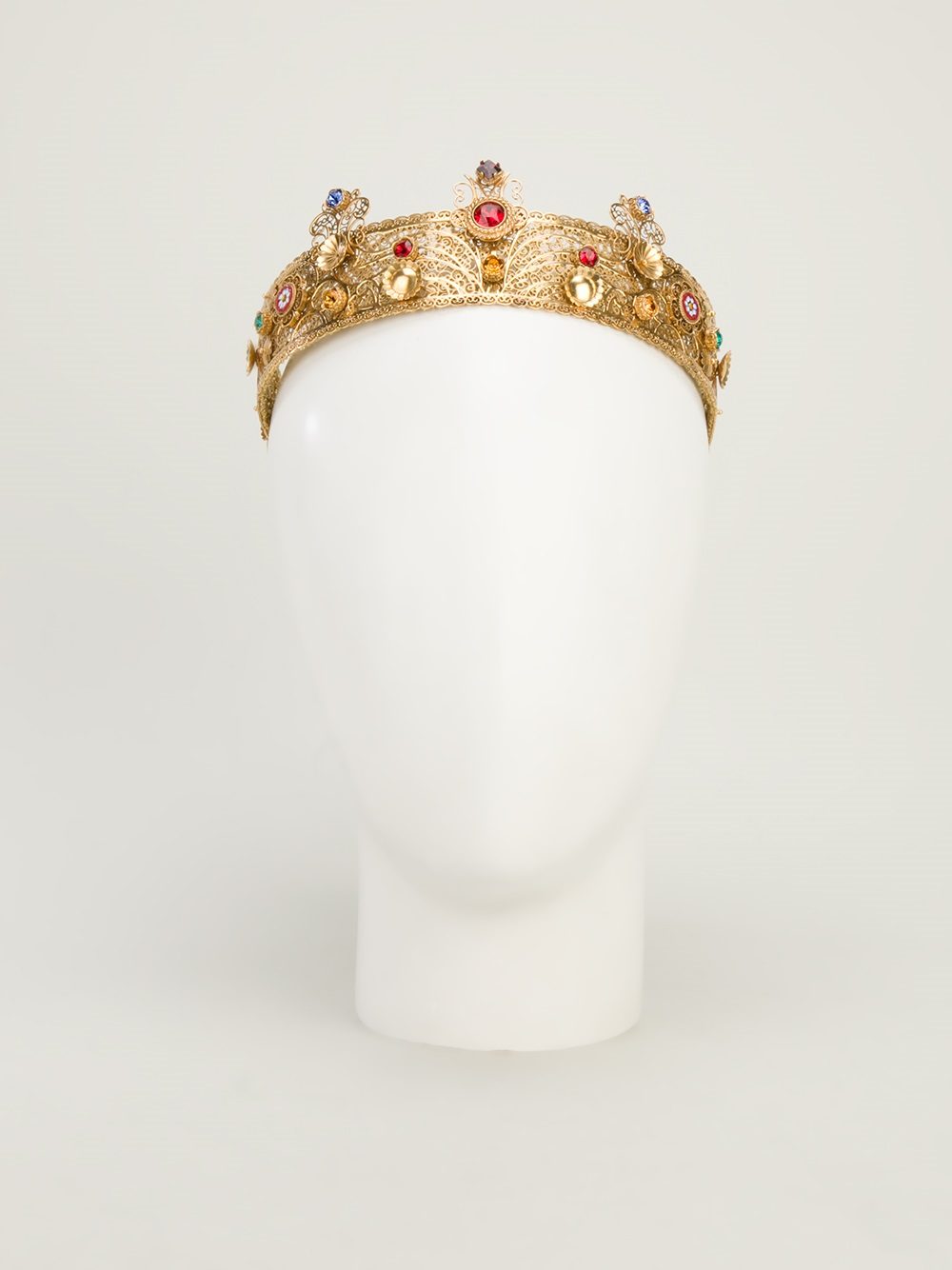 Lyst Dolce Amp Gabbana Bejewelled Crown In Metallic