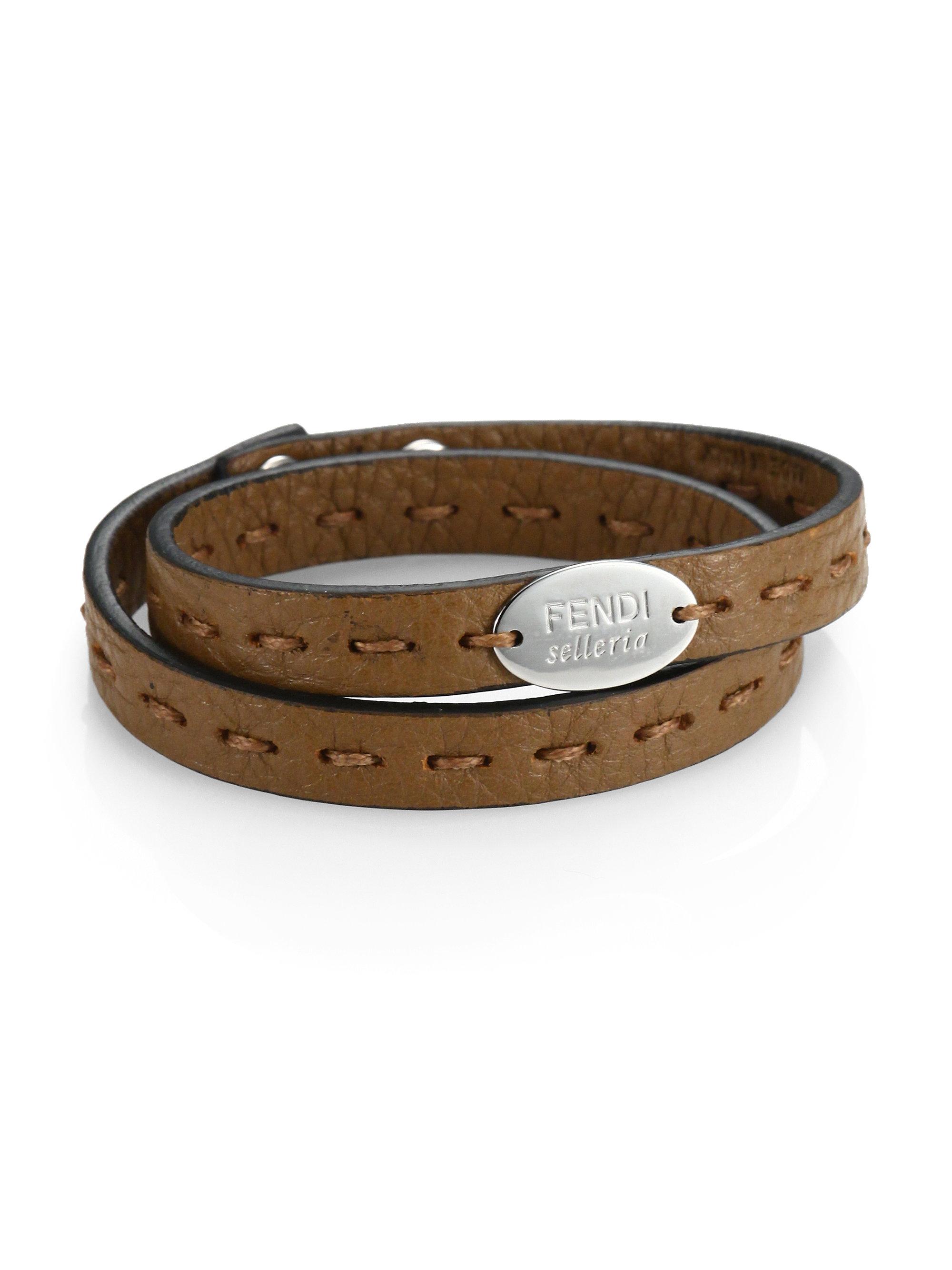 Fendi Selleria Leather Bracelet In Orange For Men Lyst