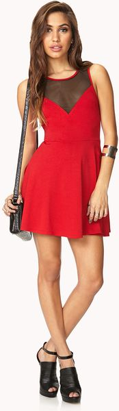 Forever 21 Favorite Fit Flare Dress In Red Red Black Lyst