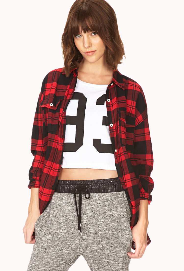 Lyst Forever 21 Oversized Plaid Shirt In Red