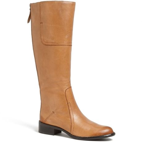 franco sarto cristo boot in brown camel leather lyst