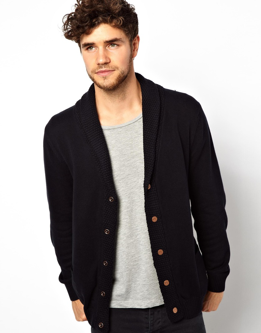 Blood brother Jack Jones Cardigan with Shawl Neck in Black for Men ...