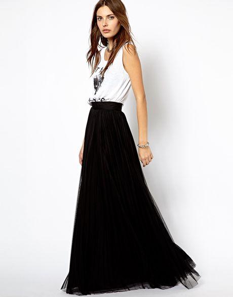 mango pleated maxi skirt in black lyst
