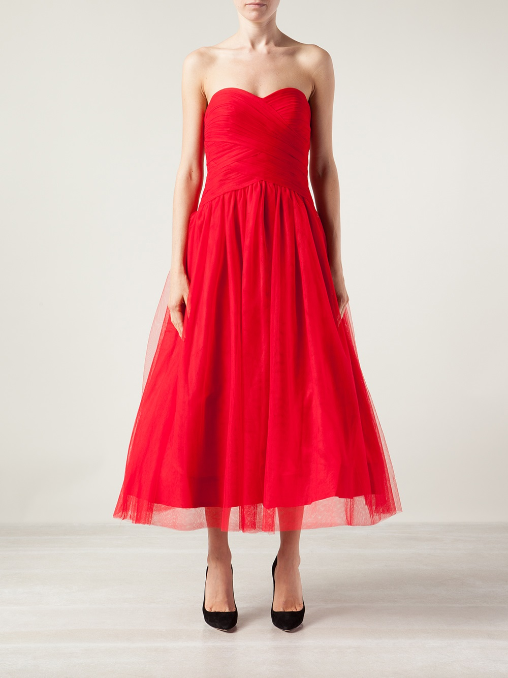 Lyst - Ml Monique Lhuillier Sweetheart Tulle Gown in Red