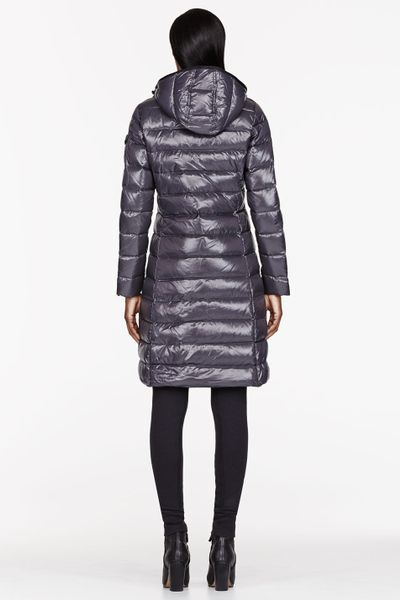 Moncler Charcoal Quilted Down Moka Coat In Silver