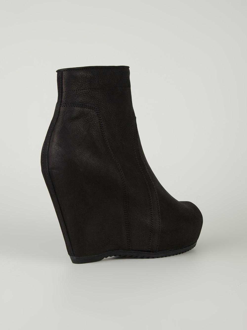 rick owens platform wedge boots in black lyst