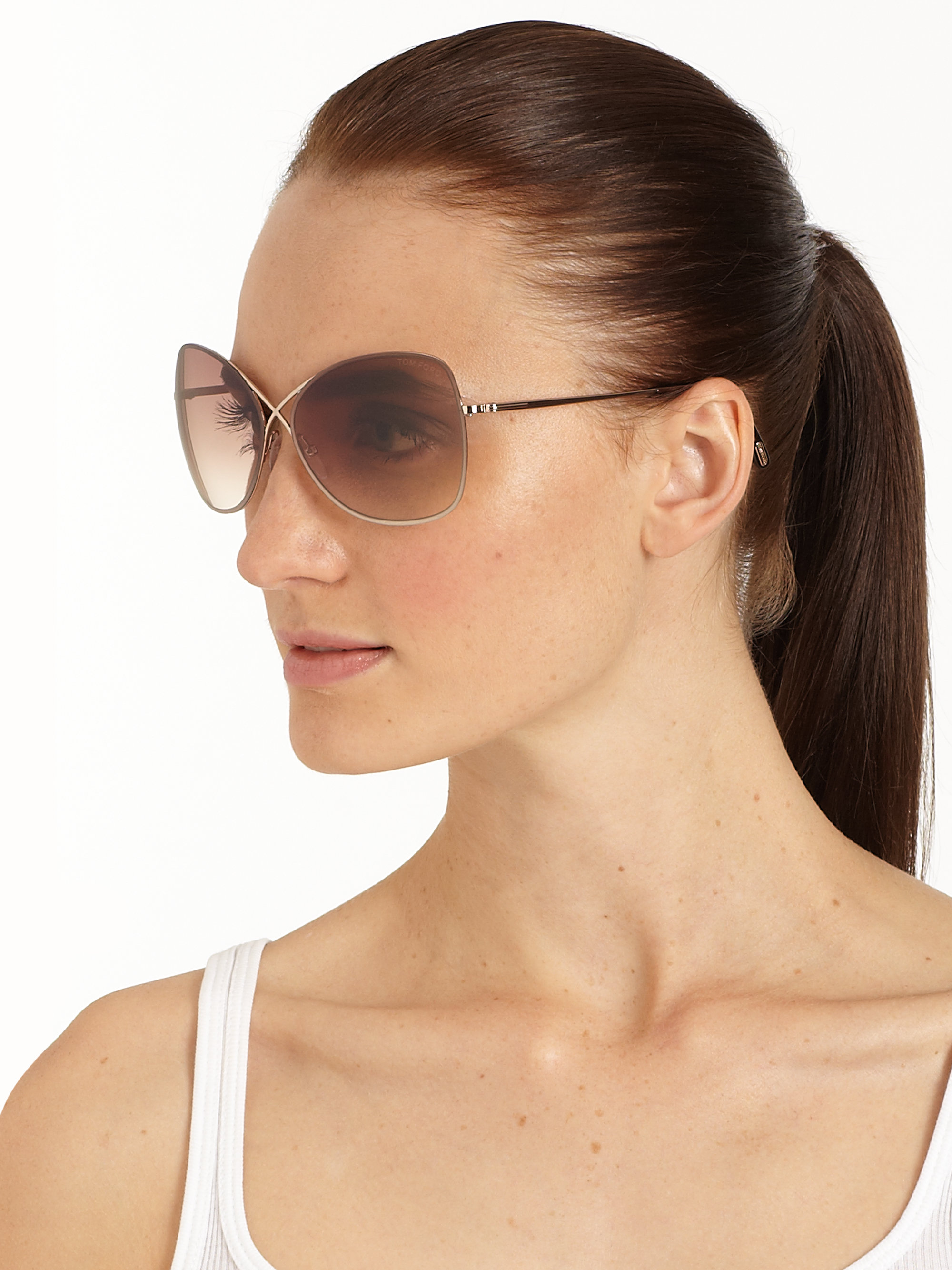 Lyst Tom Ford Colette Crossover Round Sunglasses In Brown
