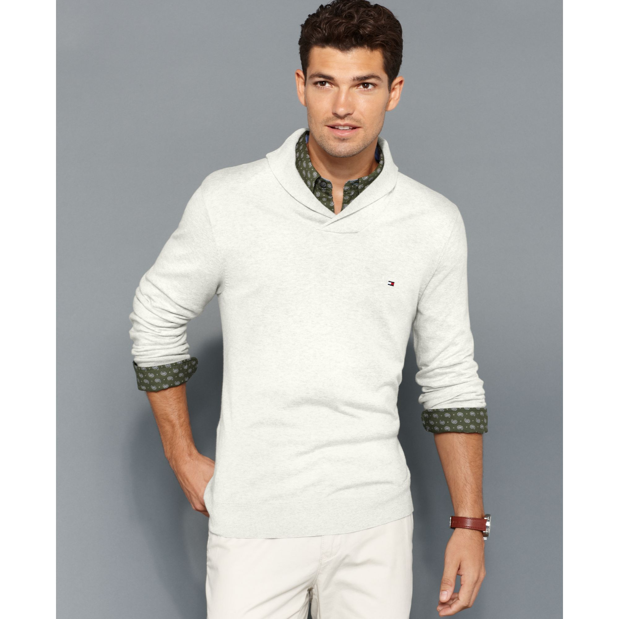 202642ed63679 Lyst - Tommy Hilfiger American Shawl Collar Sweater in White for Men