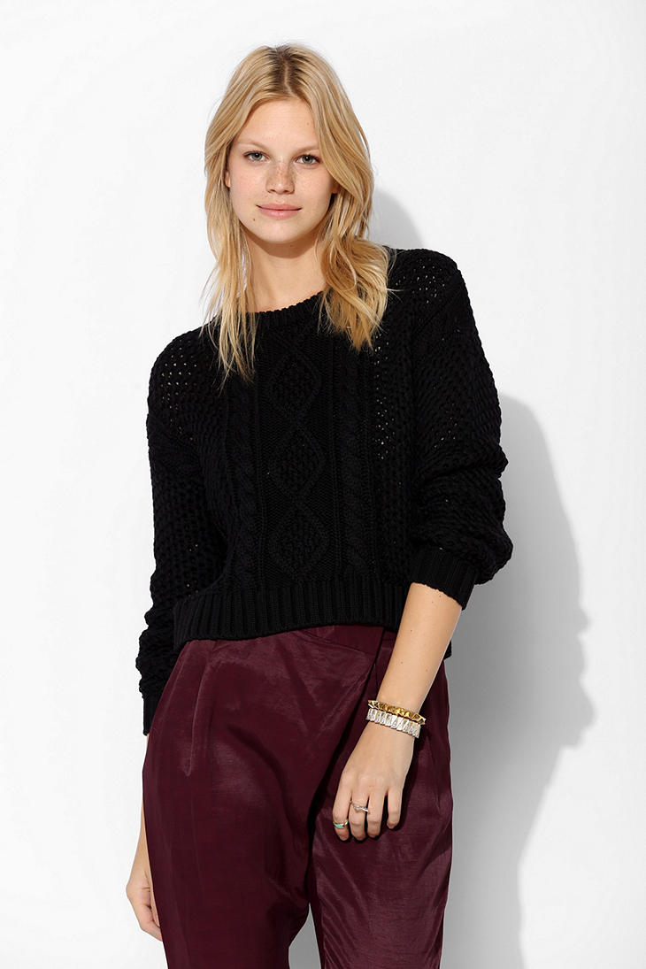 Lyst Urban Outfitters Bdg Cableknit Cropped Sweater In Black