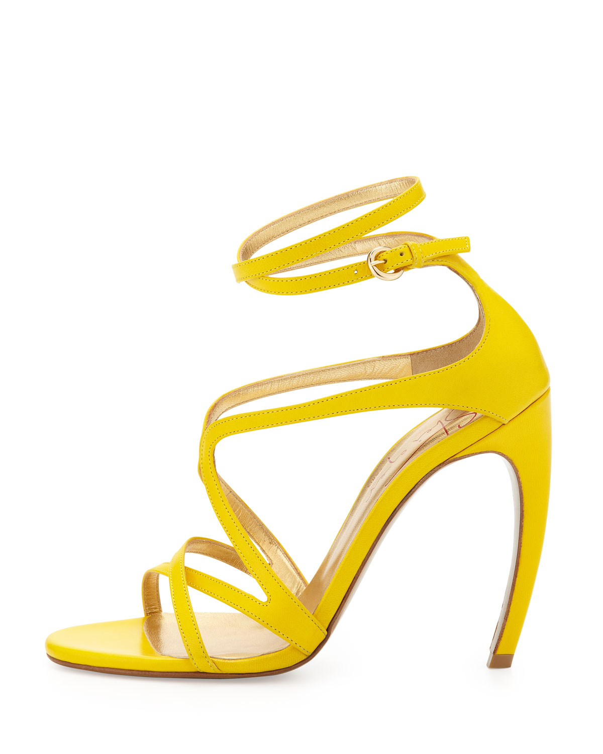 Walter steiger Strappy Leather Convexheel Sandal in Yellow | Lyst