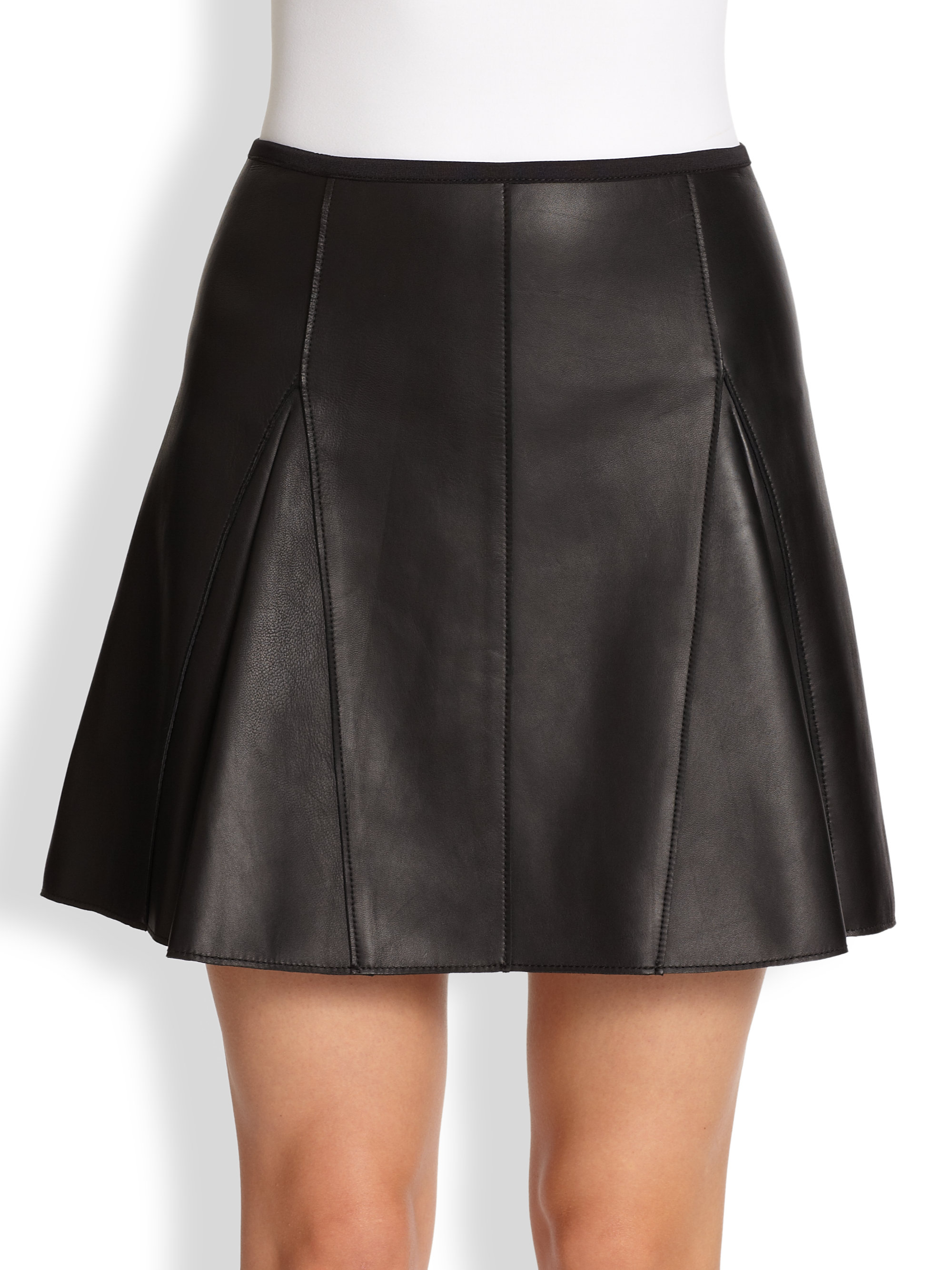 3 1 phillip lim leather kick pleat skirt in black lyst