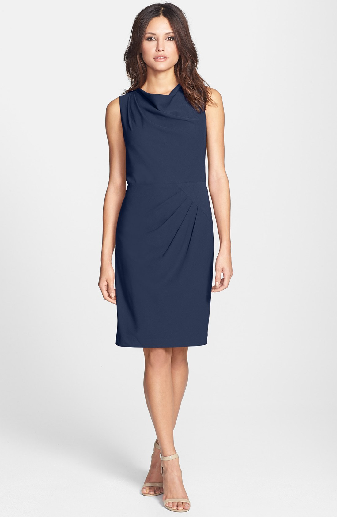 adrianna papell side drape sheath dress in blue indigo