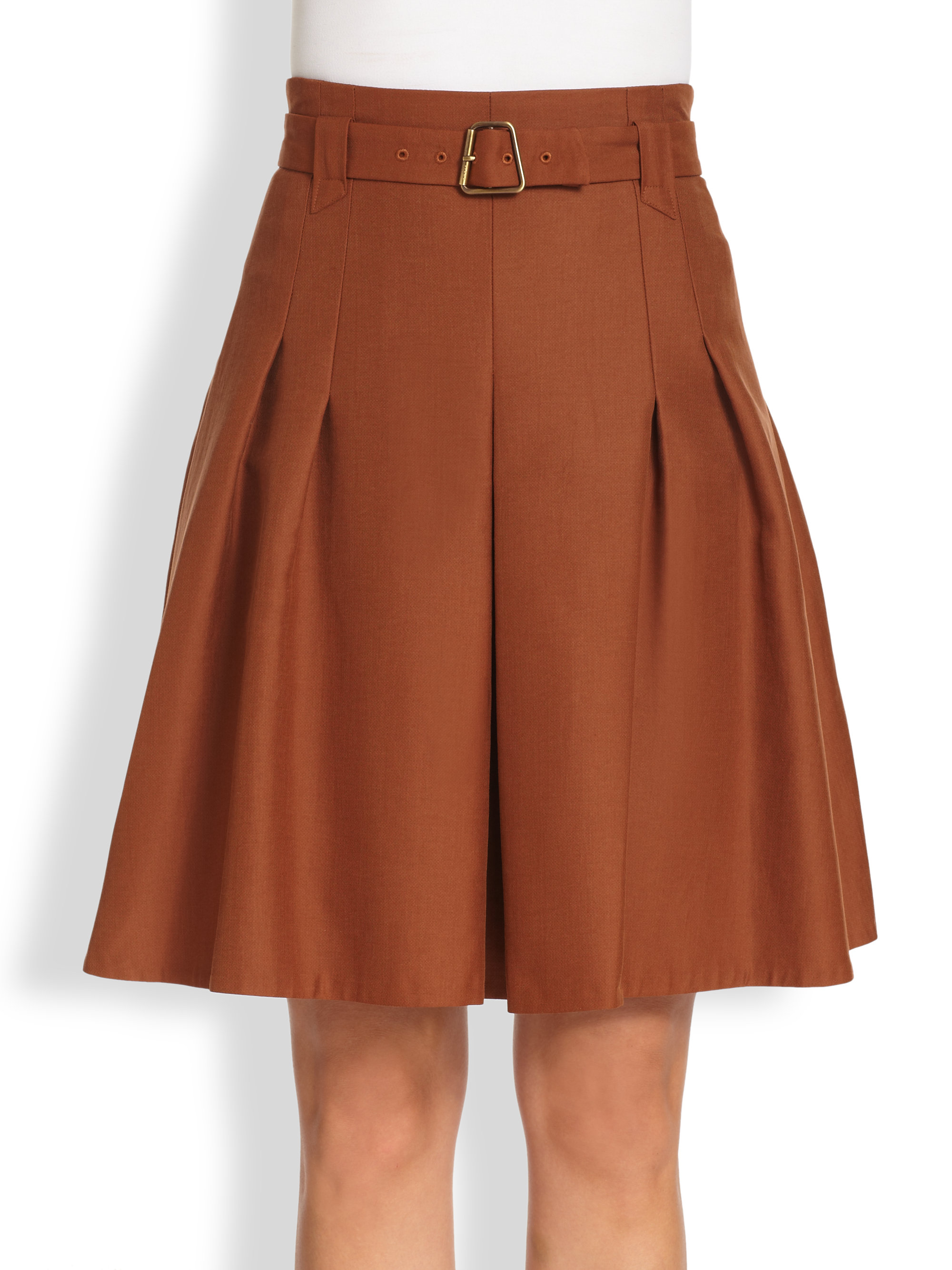 Akris Belted Pleated Skirt in Brown | Lyst