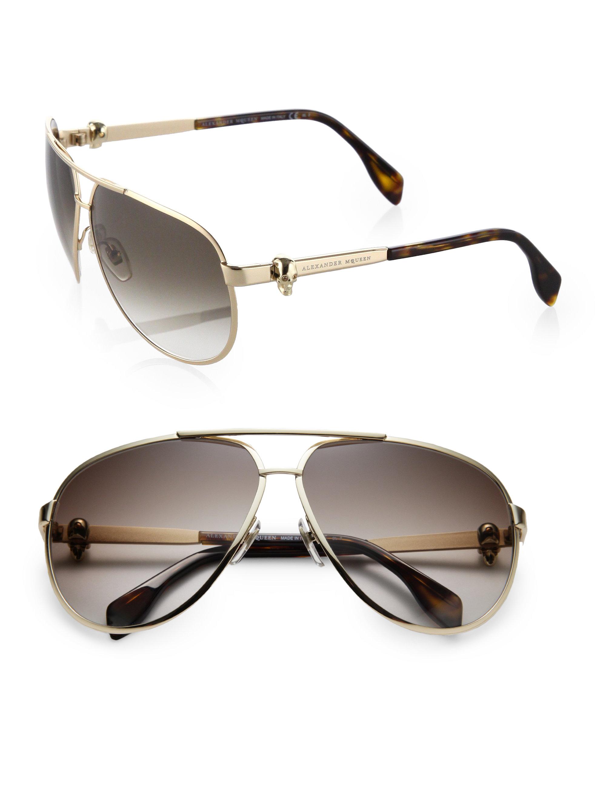 50361460ddd46 Alexander McQueen Metal Skull Aviator Sunglasses in Metallic for Men ...