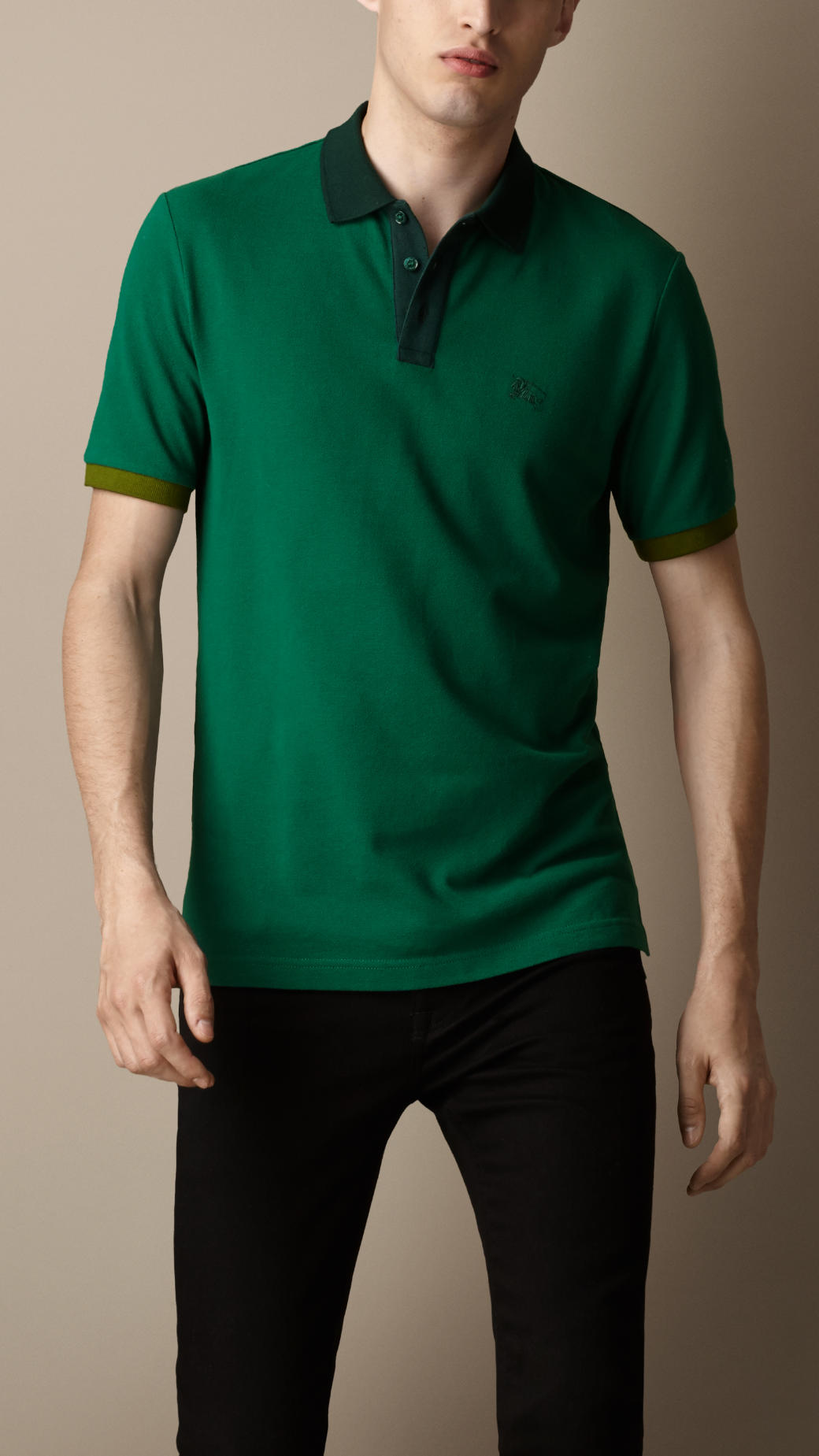 Burberry colour block polo shirt in green for men lyst for Forest green polo shirts