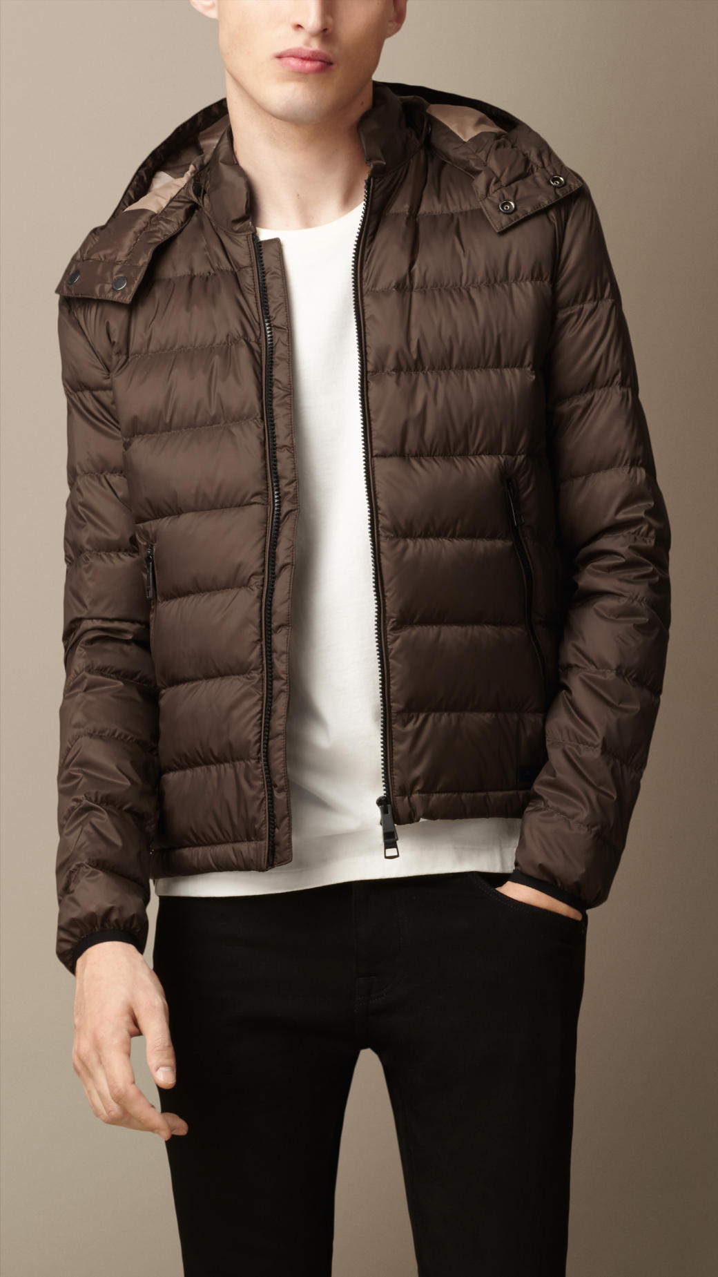 Lyst Burberry Downfilled Puffer Jacket In Brown For Men