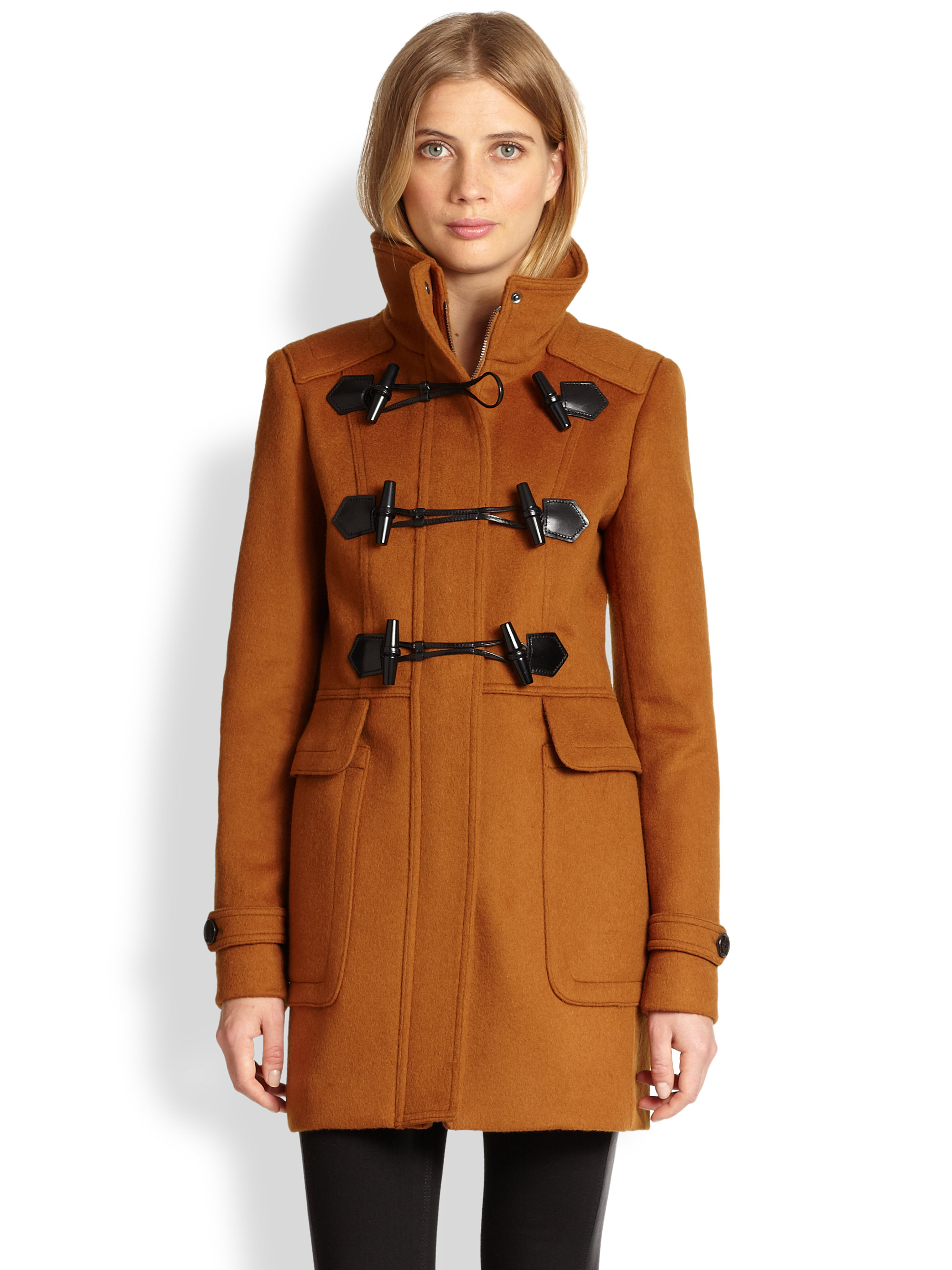 Burberry Woolfelt Toggle Coat In Brown Ochre Brown Lyst