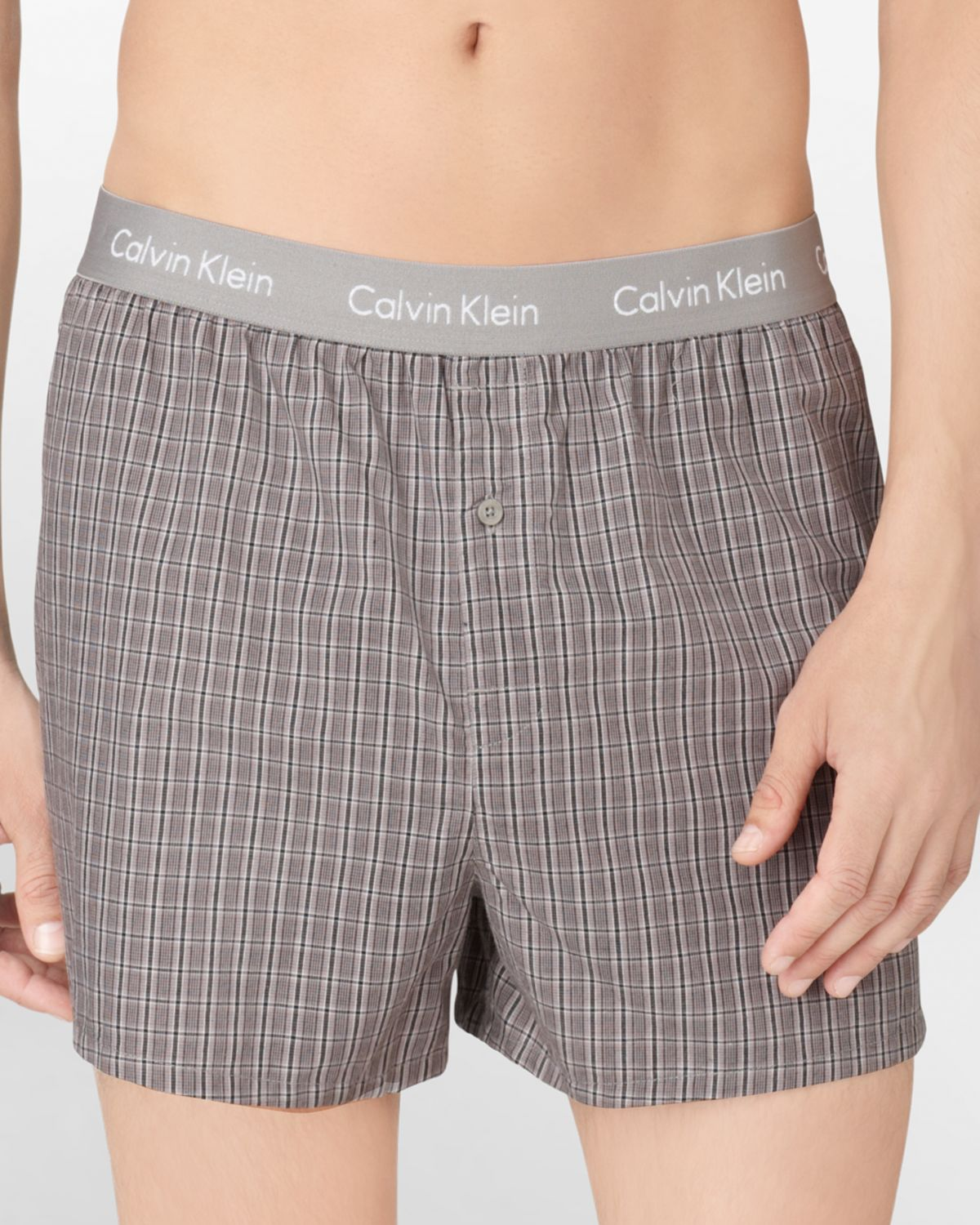 calvin klein slim fit woven plaid boxer shorts in gray for. Black Bedroom Furniture Sets. Home Design Ideas