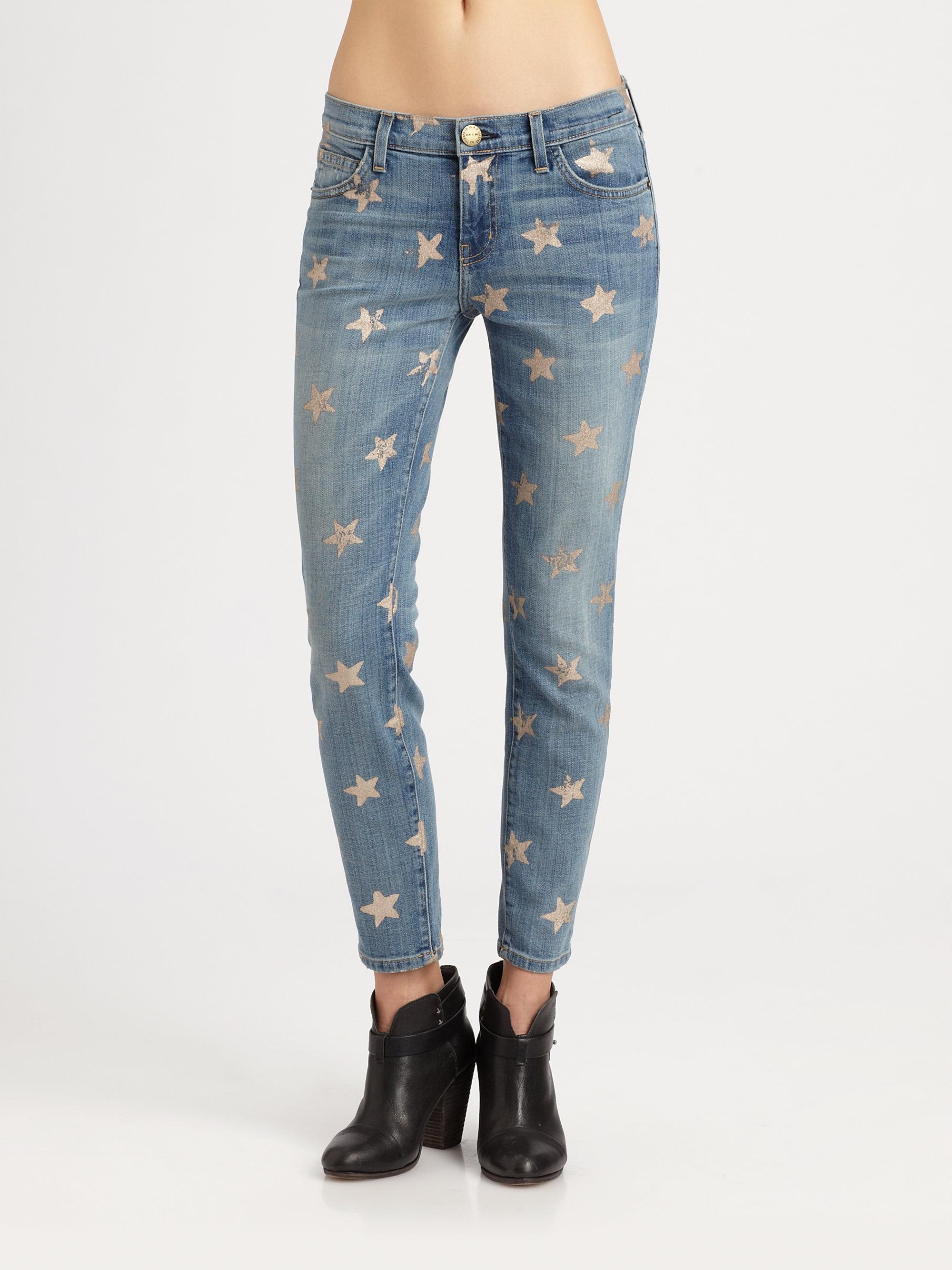 Lyst Current Elliott The Stiletto Starprint Jeans In Blue