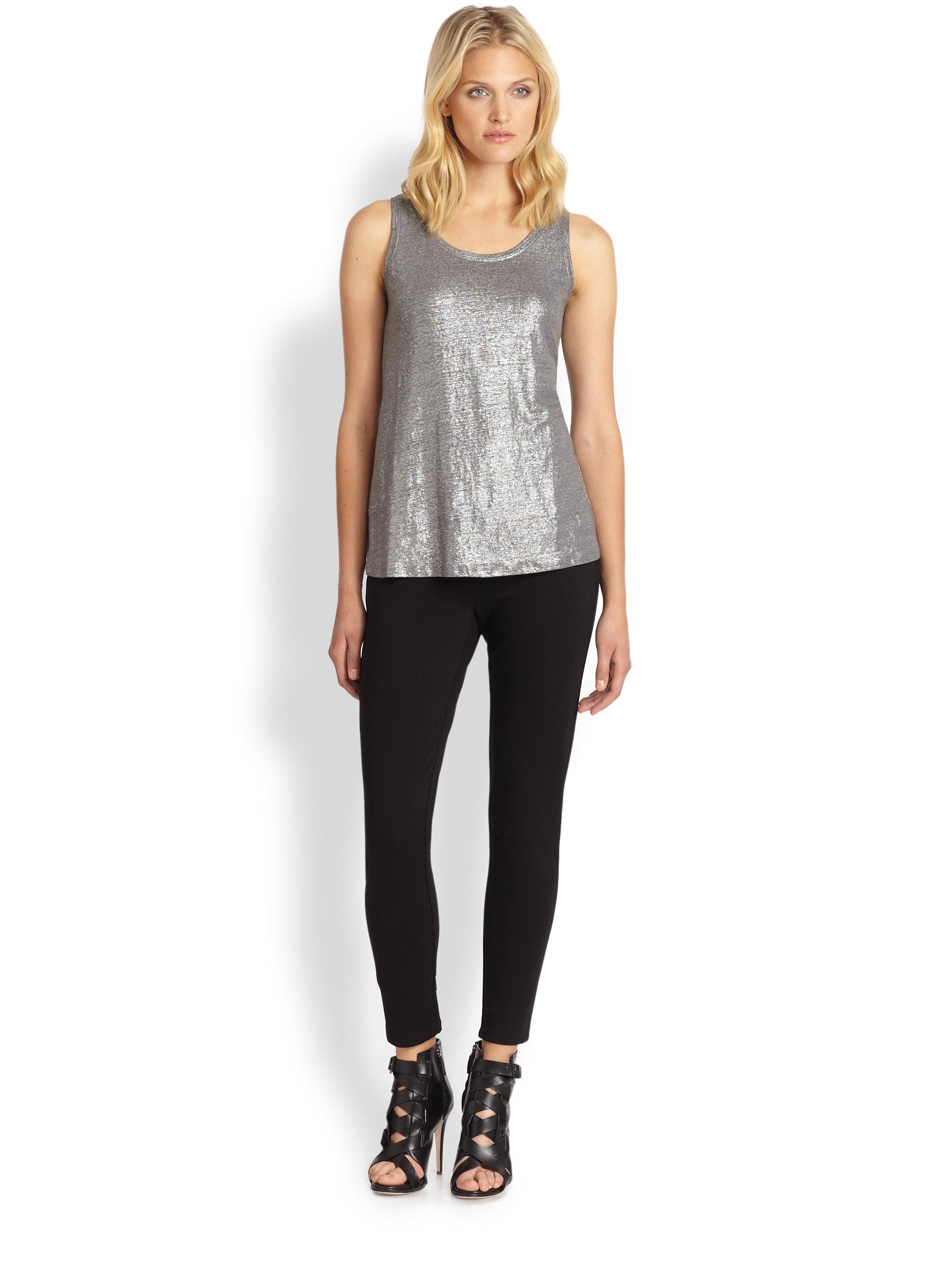 Lyst Eileen Fisher Shimmer Knit Tank Top In Metallic