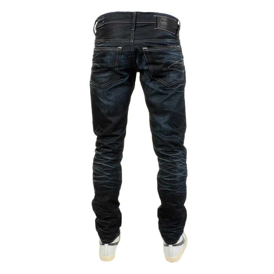 g star raw g star low tapered jeans dark aged denim in blue for men navy lyst. Black Bedroom Furniture Sets. Home Design Ideas
