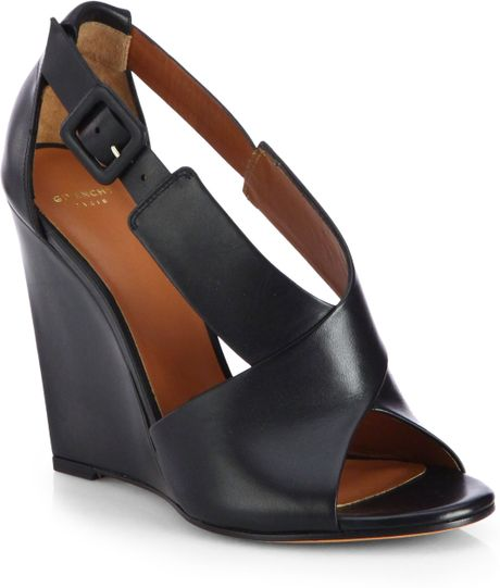Givenchy Leather Crisscross Wedge Sandals In Black Lyst