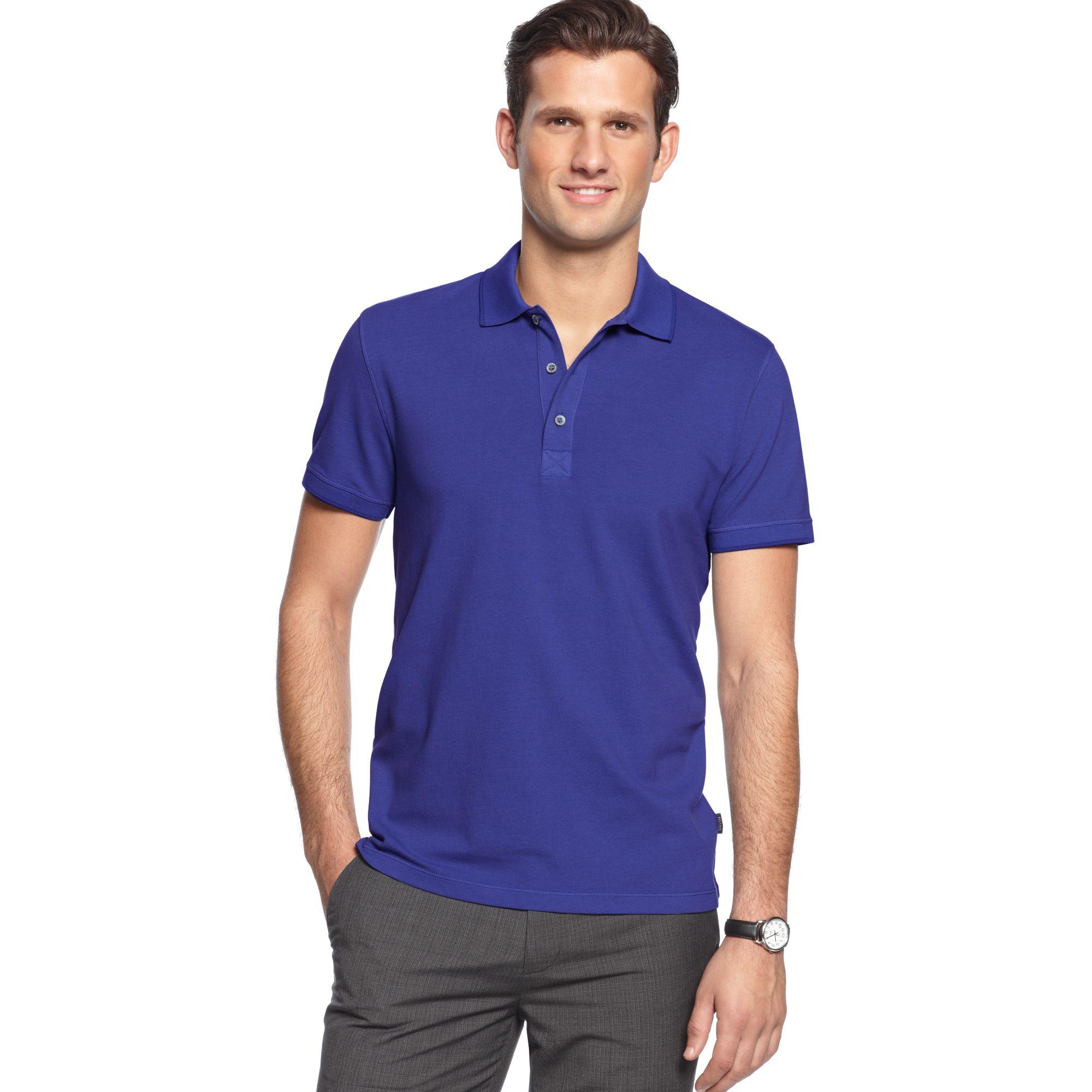 hugo boss boss black shirt forli slim fit polo shirt in blue for men. Black Bedroom Furniture Sets. Home Design Ideas