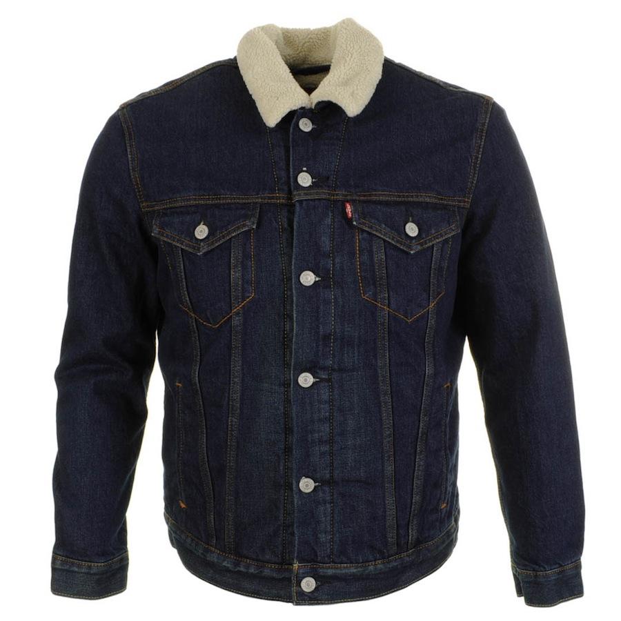 levi 39 s sherpa trucker jacket in blue for men navy lyst. Black Bedroom Furniture Sets. Home Design Ideas