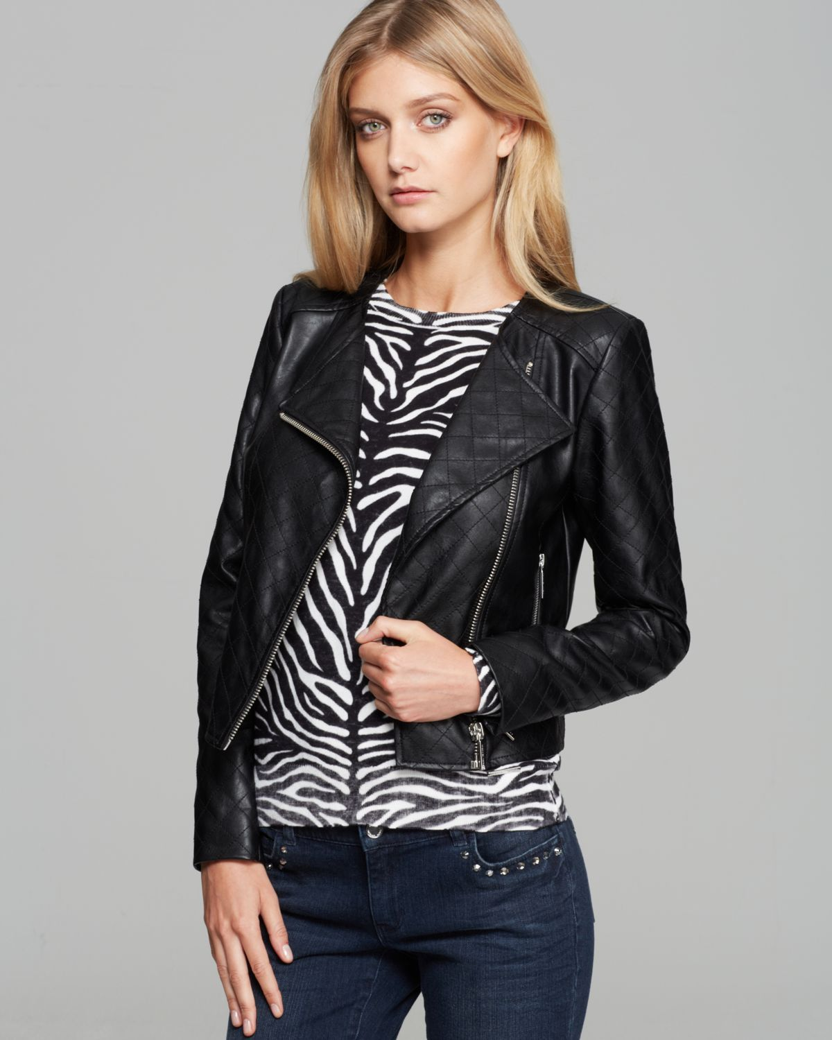 9eba44cec664 Lyst Michael Kors Faux Leather Quilted Moto Jacket In Black. Image Of Michael  Kors Asymmetric Zip ...