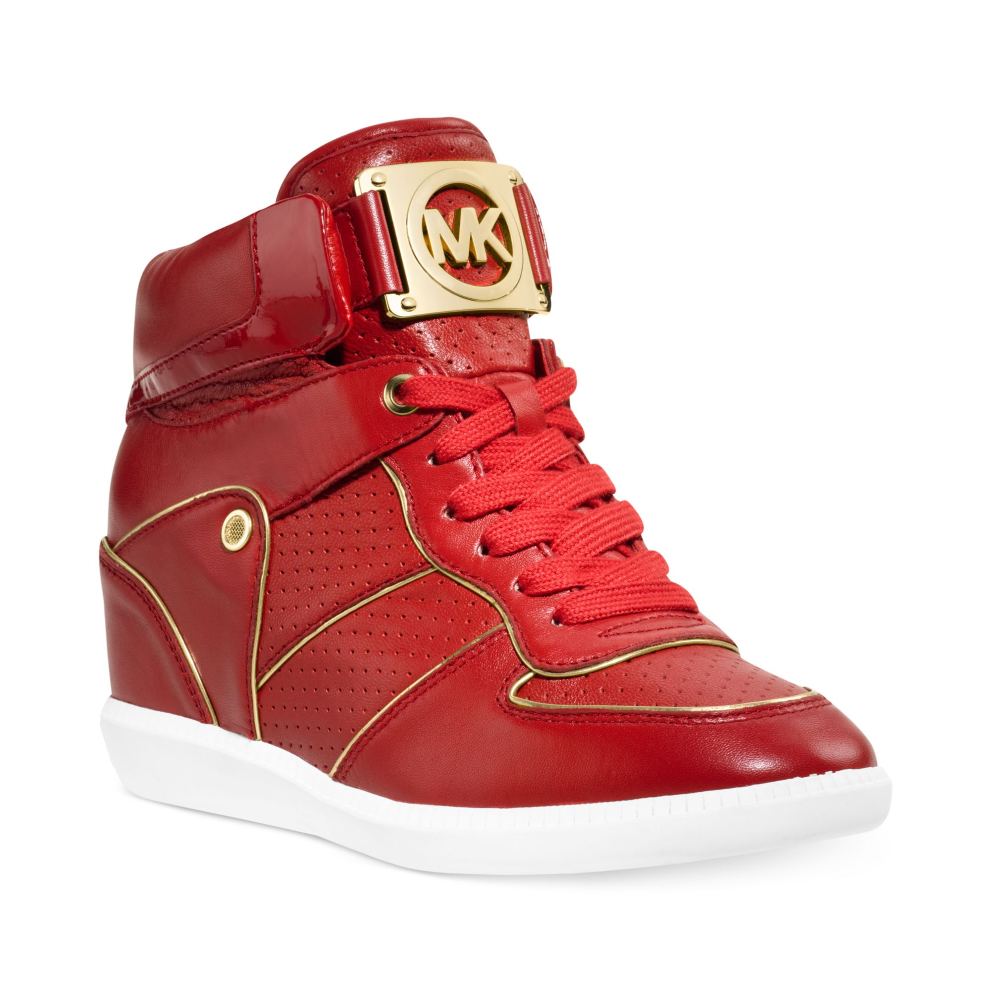 michael kors nikki high top logo sneakers in red red leather lyst. Black Bedroom Furniture Sets. Home Design Ideas